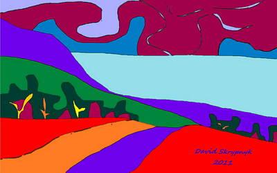 Digital Art - North Saanich Field And Inlet by David Skrypnyk