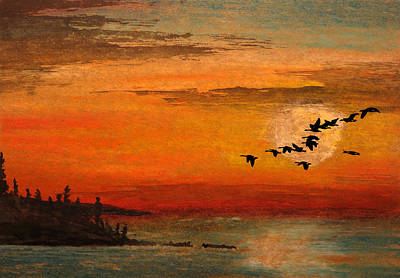 Canadian Geese Mixed Media - North Shore Route by R Kyllo