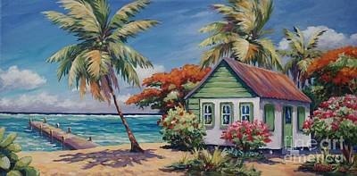 Oleanders Painting - North Side Home And Dock by John Clark