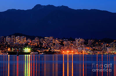 Vancouver At Night Photograph - North Vancouver At Dusk by Terry Elniski