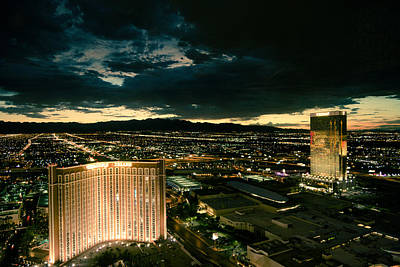 Photograph - North Vegas Strip At Twilight by Chris Bordeleau