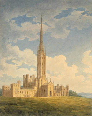 Landscape Drawing - North-west View Of Fonthill Abbey by Charles Wild