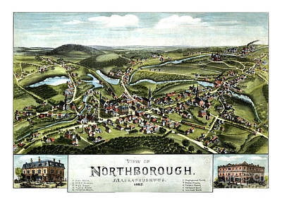 Vintage Map Painting - Northborough - Massachusetts - 1887 by Pablo Romero