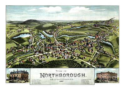 Old Map Painting - Northborough - Massachusetts - 1887 by Pablo Romero