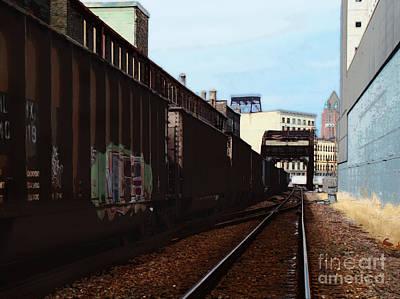 Northbound Freight To Milwaukee Art Print by David Blank