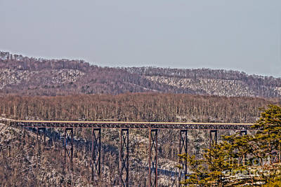 New River Gorge Bridge Photograph - Northeast View Of Gorge Bridge From Diamond Point by Timothy Connard