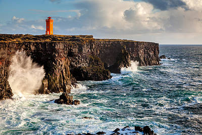 Vintage Signs - Northern Atlantic and Lighthouse by Alexey Stiop