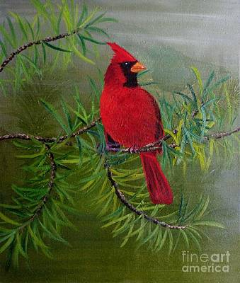 Painting - Northern Cardinal by Cecilia Stevens