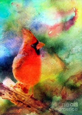 Photograph - Northern Cardinal With Leaf In Beak - Digital Paint IIi by Debbie Portwood