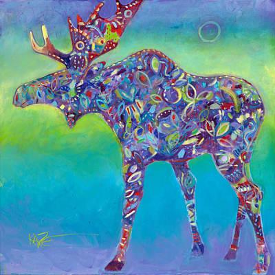 Moose Wall Art - Painting - Northern Exposure by Kate Dardine