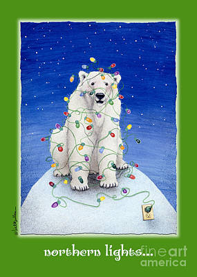 Christmas Card Painting - Northern Lights ...  by Will Bullas