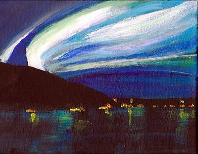 Northern Lights Bay Art Print