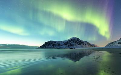 Photograph - Northern Lights On Skagsanden Norway by Spreephoto.de