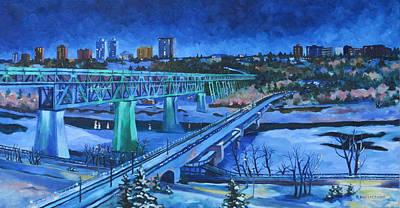 Painting - Northern Lights On The Bridge by Nel Kwiatkowska