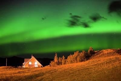 Northern Lights Over A House Art Print