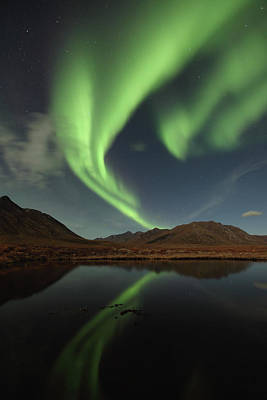 Photograph - Northern Lights Reflected In A Small by Robert Postma / Design Pics
