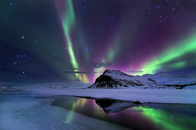 Snow Photograph - Northern Lights Reflection by Andrea Auf Dem
