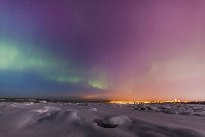 Northern Lights Shine Above City Art Print by Kevin Smith