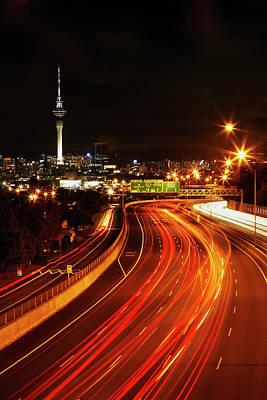 Motorway Photograph - Northern Motorway And Skytower by David Wall