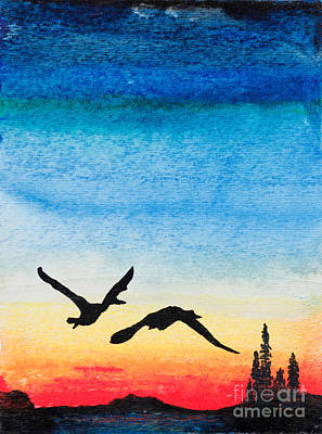 Canadian Geese Painting - Northern Nightfall by R Kyllo