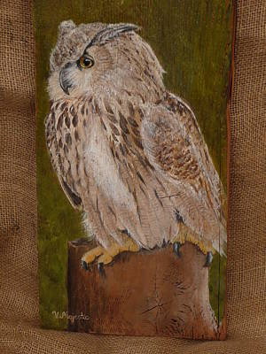 Eco Painting - Northern Spotted Owl by Viktoria K Majestic