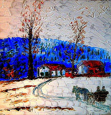 Painting - Northern Utah Winter Evening Buggy Ride 1 by Richard W Linford