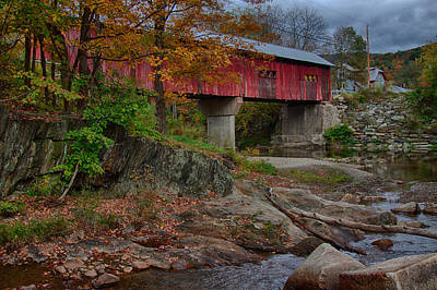 Photograph - Northfield Falls Bridge In Color by Jeff Folger