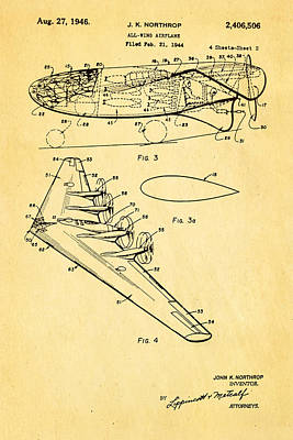Northrop All Wing Airplane Patent Art 2 1946 Art Print by Ian Monk