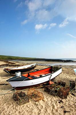 Lobster Nets Industry Photograph - Northumberland, England  Fishing Boats by John Short