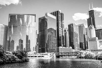 With Photograph - Northwest Chicago Loop Buildings Black And White Photo by Paul Velgos