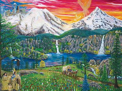 Mount Hood Painting - Northwest Heaven On Earth by Mike De Lorenzo