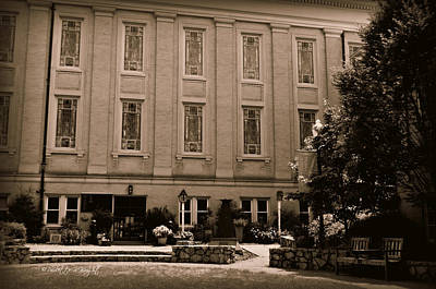 Photograph - Northwest Side Of University Baptist Church In Sepia by Paulette B Wright