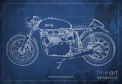 Blueprint Drawing - Norton Cafe Racer Blueprint by Pablo Franchi