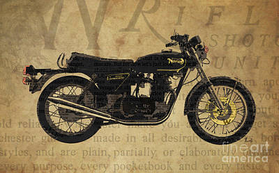 Norton Commando 850 1973 And The Newspaper Collage Art Print by Pablo Franchi