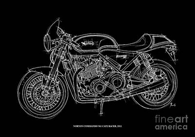 White On Black Drawing - Norton Commando 961 Cafe Racer - 2011 by Pablo Franchi