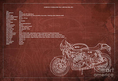 Norton Drawing - Norton Commando 961 Cafe Racer 2011 Technical Specifications by Pablo Franchi