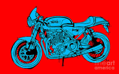 Bike Drawing - Norton Commando Blue And Red by Pablo Franchi