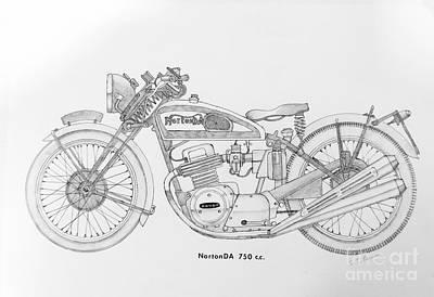 Two Wheeler Drawing - Nortonda 750 C.c. by Stephen Brooks