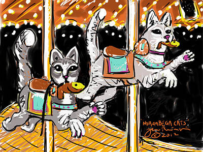 Art Print featuring the painting Norumbega Cats by Jean Pacheco Ravinski