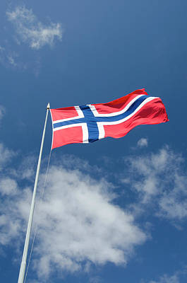 Cindy Photograph - Norway, Bergen Norway Flag by Cindy Miller Hopkins
