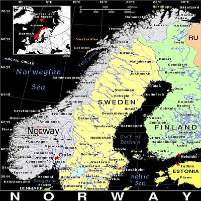 Norway Mixed Media - Norway Exotic Map by Florene Welebny