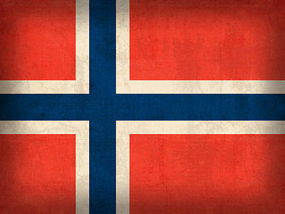 Scandinavian Mixed Media - Norway Flag Distressed Vintage Finish by Design Turnpike
