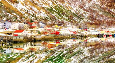 Norwegian Fishing Village Painting - Norway In Winter by Lanjee Chee