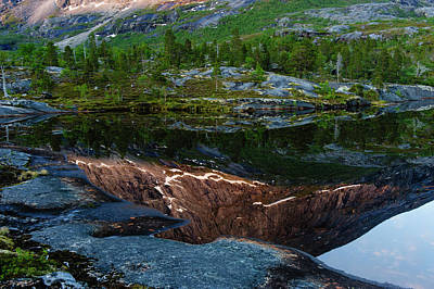 Norway Photograph - Norway Sunlit Mountains Reflecting by Fredrik Norrsell