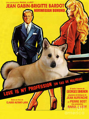 Painting - Norwegian Buhund Art Canvas Print - Love Is My Profession Movie Poster by Sandra Sij