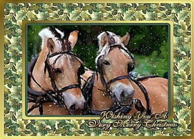 Fjord Drawing - Norwegian Fjord Horse Christmas Card by Olde Time  Mercantile