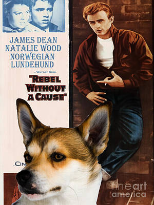 Painting - Norwegian Lundehund Art Canvas Print - Rebel Without A Cause Movie Poster by Sandra Sij