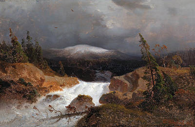 Andreas Achenbach Painting - Norwegian Mountain Landscape With A Stream by Andreas Achenbach