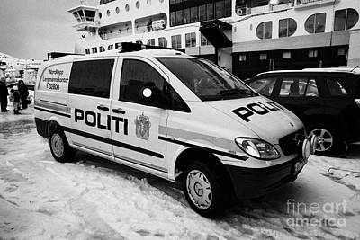 Norwegian Police Vehicle Outside Nordkapp Police Station Honningsvag Finnmark Norway Europe Art Print by Joe Fox