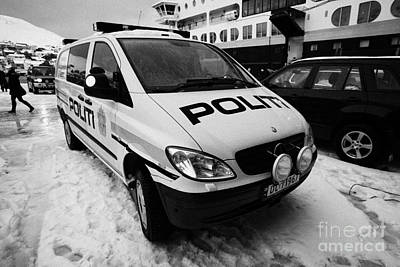 Police Van Photograph - Norwegian Police Vehicle Outside Nordkapp Police Station Honningsvag Finnmark Norway by Joe Fox